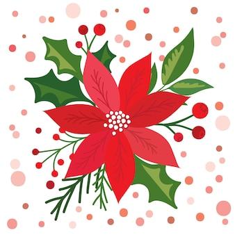 Tarjeta de navidad con hermosa flor de pascua,