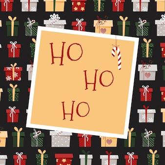 Tarjeta de navidad ho ho ho. tarjeta de felicitación con regalos