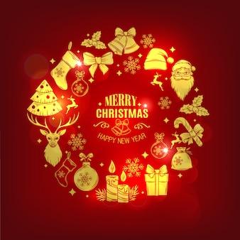 Tarjeta de navidad con iconos decorativos