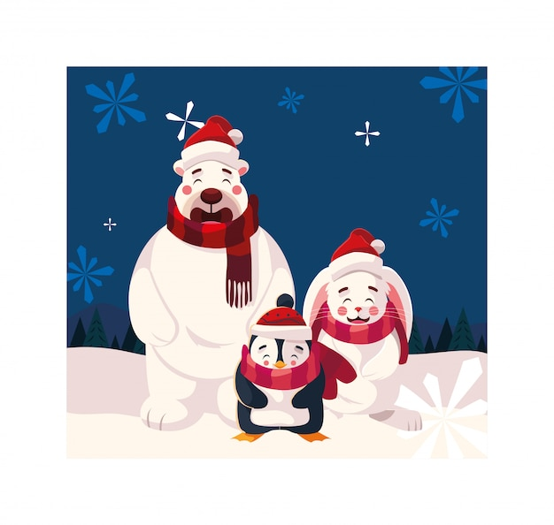 Tarjeta de navidad con iconos de navidad
