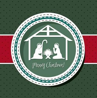 Tarjeta de navidad con ilustración de vector de escena de la natividad