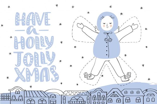 Tarjeta de navidad con letras y angel