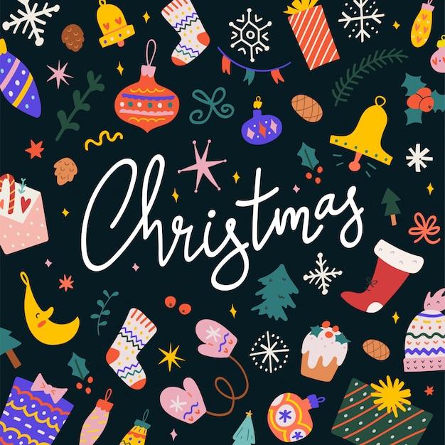 Tarjeta de navidad con letras e ilustraciones