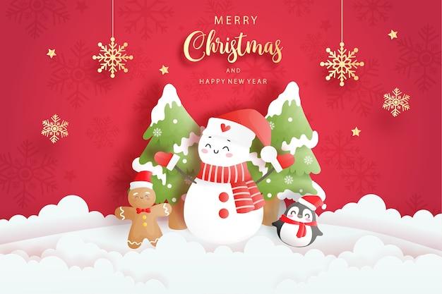 Tarjeta de navidad con lindo muñeco de nieve, pingüino y hombre de jengibre, ilustración de corte de papel