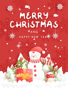 Tarjeta de navidad con lindo muñeco de nieve y setas, ilustración de corte de papel
