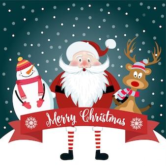 Tarjeta de navidad con lindo santa, muñeco de nieve y renos. diseño plano. vector