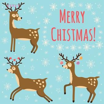 Tarjeta de navidad con lindos ciervos.