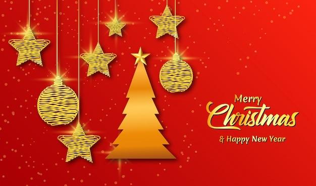 Tarjeta de navidad línea árbol dorado
