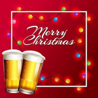 Tarjeta de navidad con luces y cerveza