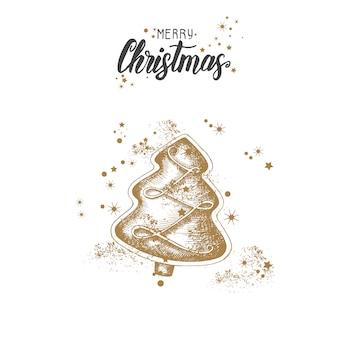 Tarjeta de navidad con mano alzada doodle oro árbol de navidad y brillo.