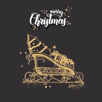Tarjeta de navidad con mano alzada doodle oro navidad trineo de santa claus y brillo.