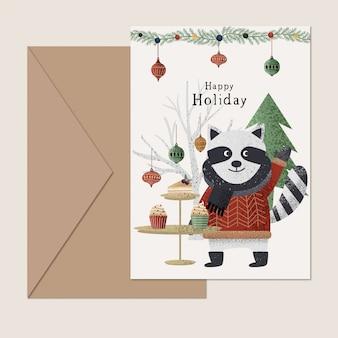Tarjeta de navidad de mapache