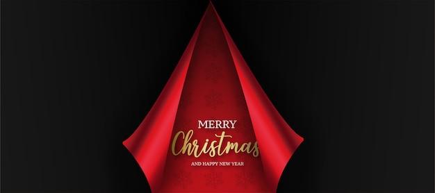 Tarjeta de navidad moderna con papel rojo