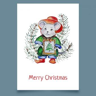 Tarjeta de navidad con mouse en hat