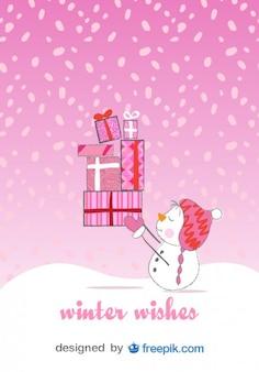 Tarjeta de navidad de muñeco de nieve feliz en fondo de color rosa