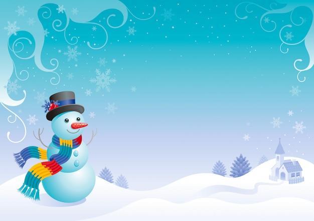 Tarjeta de navidad muñeco de nieve. paisaje de invierno de dibujos animados.