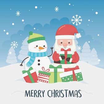 Tarjeta de navidad con muñeco de nieve y santa claus