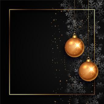 Tarjeta de navidad negra y dorada con espacio de texto