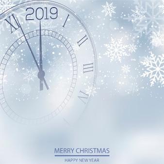 Tarjeta de navidad o año nuevo con reloj. vector
