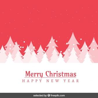 Tarjeta de navidad con paisaje rojo nevado y árbol de navidad