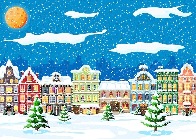 Tarjeta de navidad con paisaje urbano y nevadas.