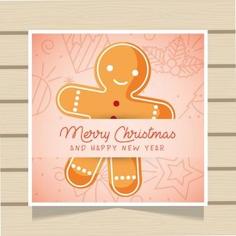 Tarjeta de navidad con pan de jengibre.