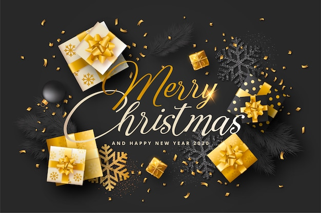 Tarjeta de navidad realista con regalos negros y dorados