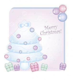 Tarjeta de navidad con regalos y el árbol