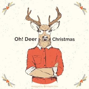 Tarjeta de navidad de reno en estilo hipster