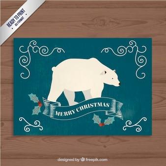Tarjeta de navidad retro de oso polar