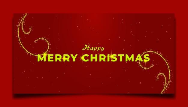 Tarjeta de navidad roja con adorno de oro brillante
