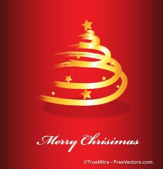 Tarjeta de navidad roja con árbol dorado