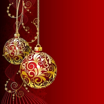 Tarjeta de navidad roja con bolas de navidad y copos de nieve
