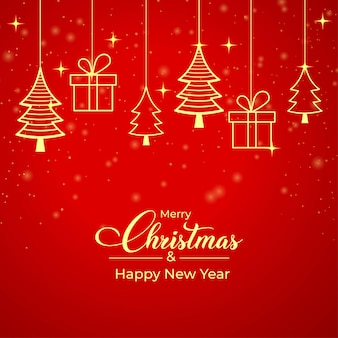 Tarjeta de navidad roja con caja de regalo dorada, icono de pino dorado. banner de navidad sobre un fondo rojo. tarjeta de regalo de navidad con elementos dorados y fondo rojo. diseño de publicaciones de redes sociales de navidad.
