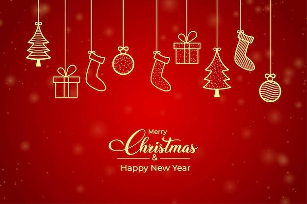 Tarjeta de navidad roja con icono de elementos dorados. fondo rojo de la bandera de la navidad con los copos de nieve. tarjeta de regalo de navidad con elementos de icono dorado y fondo rojo. diseño de publicaciones de redes sociales de navidad.