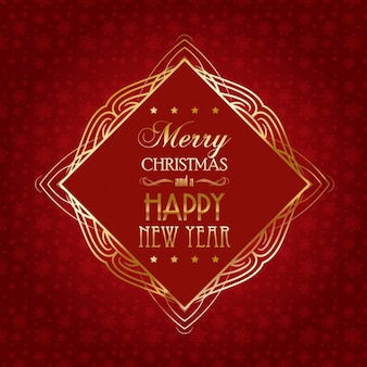 Tarjeta de navidad roja con marco dorado