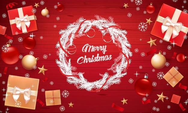 Tarjeta de navidad con saludo feliz navidad