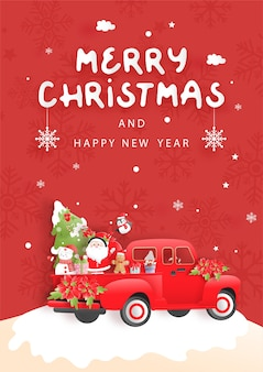 Tarjeta de navidad con santa y amigos, camión de navidad.