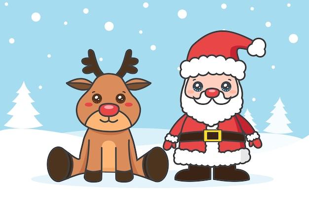 Tarjeta de navidad con santa claus y ciervos en la nieve.