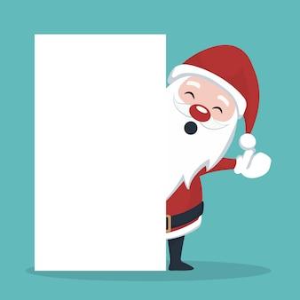 Tarjeta de navidad de santa claus detrás de cartel blanco