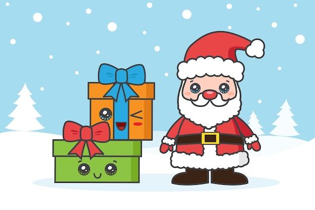 Tarjeta de navidad con santa claus y gfits en la nieve.
