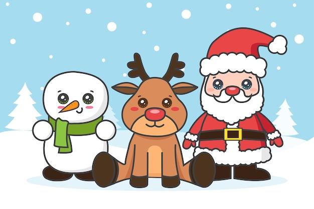 Tarjeta de navidad con santa claus y muñeco de nieve en la nieve.