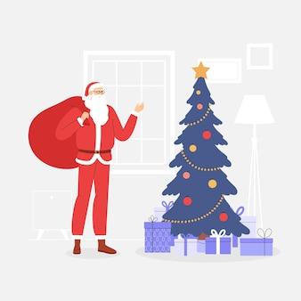 Tarjeta de navidad con santa claus. salón festivo con árbol de navidad y montaña de regalos.
