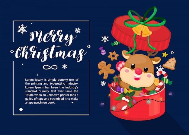 Tarjeta de navidad sobre fondo azul marino oscuro