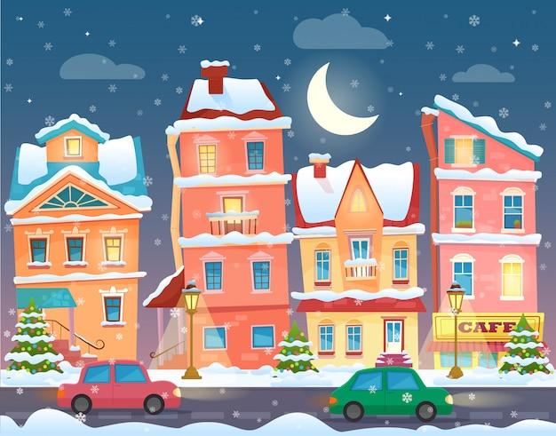 Tarjeta de navidad de vector con una ciudad vieja nevada decorada en la víspera de navidad en la noche.