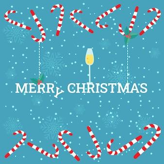 Tarjeta de navidad de vector con una copa de champán, bayas de acebo y un bastón de caramelo.