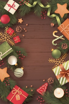 Tarjeta de navidad vertical realista en fondo de madera