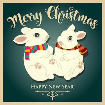 Tarjeta de navidad vintage con conejos y mensaje. impresión. vector