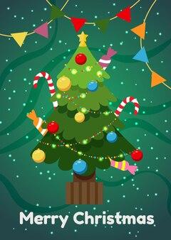 Tarjeta navideña con árbol de navidad y adornos para el nuevo año.