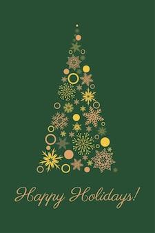 Tarjeta navideña, árbol de navidad con copos de nieve dorados sobre un fondo verde, texto felices fiestas, vector